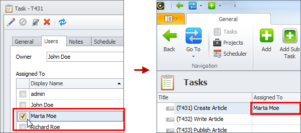 assign task by checking user