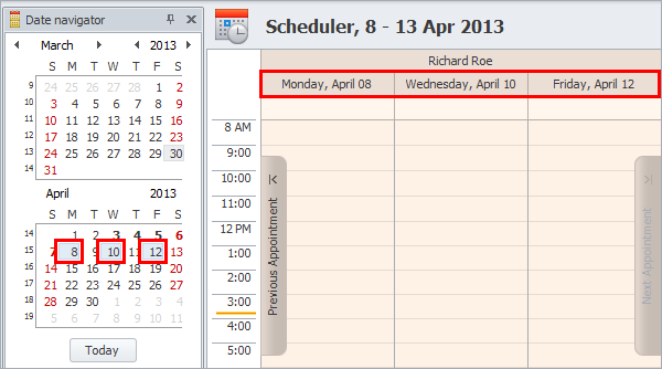 schedule tasks with date navigator