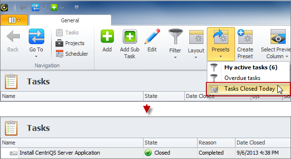 task filter apply preset filter for completed tasks