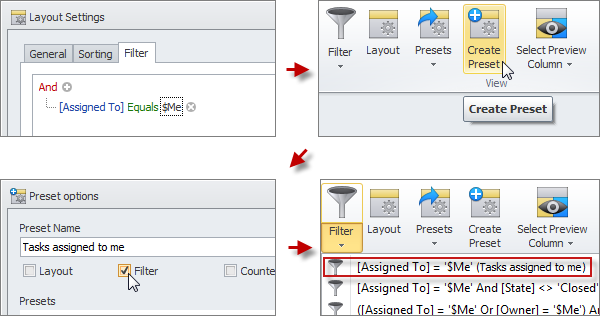 task filter preset for tasks assigned to me