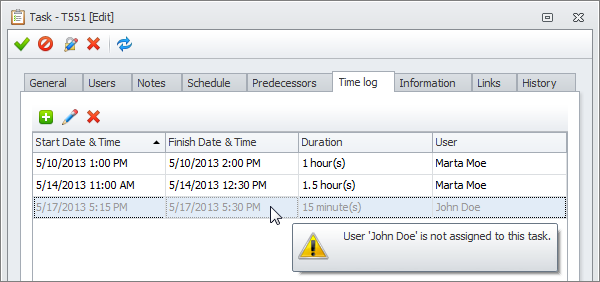 task time logs created by not assigned user