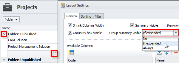 Group summary is visible, only if groups are expanded